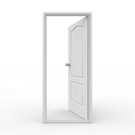 White open door on an isolated background photo