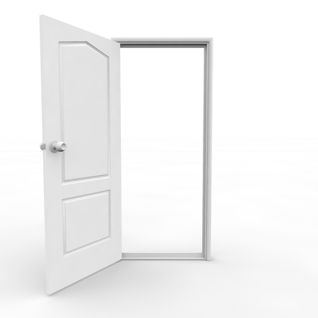 open spaces: White open door on an isolated background