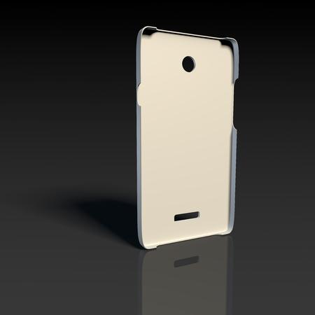 White plastic case for smartphone on black reflective floor Stock Photo