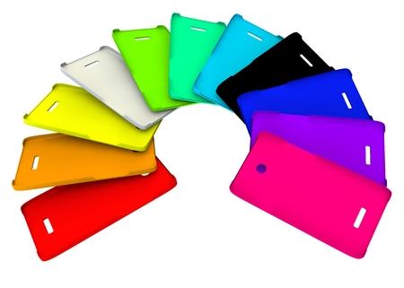 여러 가지 빛깔의 플라스틱 휴대 전화 커버 스톡 콘텐츠