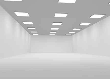ceiling lamps: White empty office room lit with bright lights