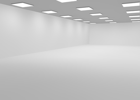 lit: White empty office room lit with bright lights