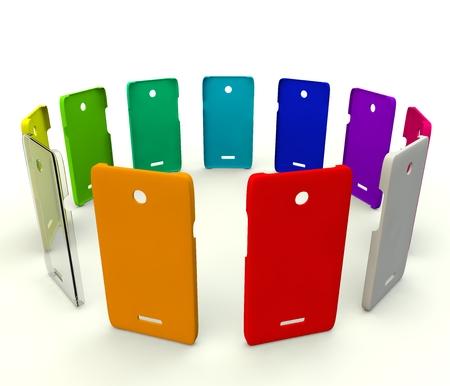 색상 플라스틱 휴대 전화 커버 스톡 콘텐츠