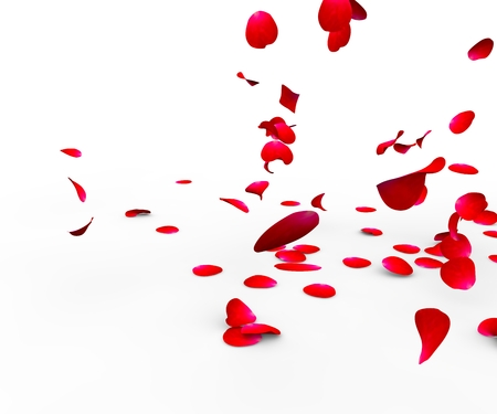 Rose petals falling on a surface on a white background isolated