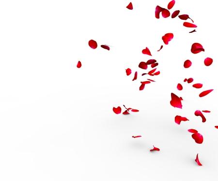 Pétalas de rosa caindo sobre uma superfície sobre um fundo branco isolado