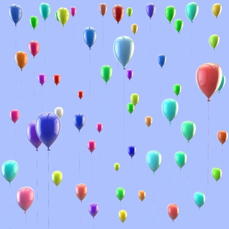 Festive texture of colorful balloons flying up. Isolated blue background Stock Photo