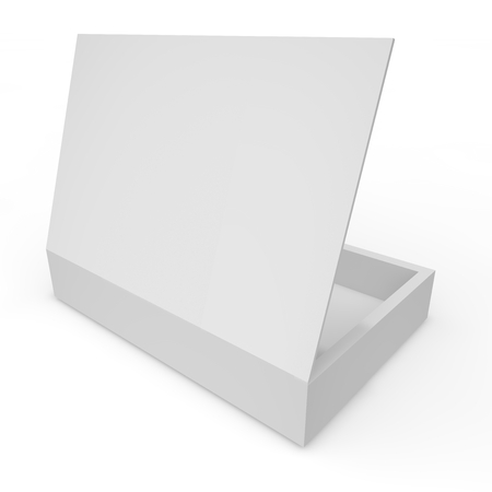 container box: Open white blank box of chocolates, gifts and other goods and products Stock Photo