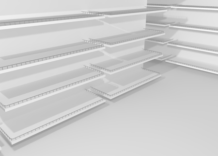 White empty shelves for goods and products in the store Stock Photo