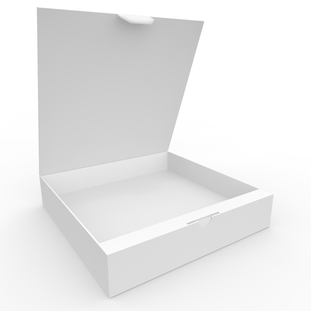 White blank box with a clasp for products and goods