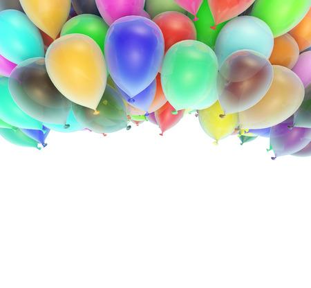 celebratory: Celebratory framework of multi-colored balloons. Isolated background Stock Photo