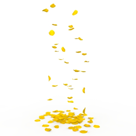 yellow rose: Yellow rose petals fall to the floor. Isolated background. 3D render Stock Photo