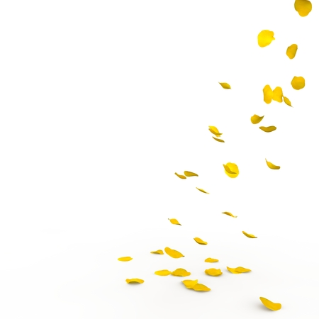 Yellow rose petals fall to the floor. Isolated background. 3D render Stockfoto