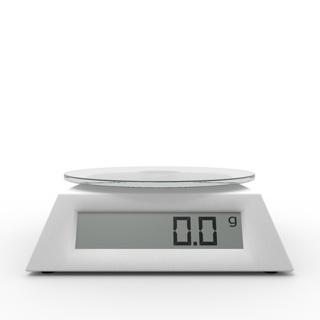 weighing scale: Included electronic kitchen scales on the isolated background