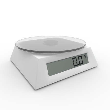 black gram: Included electronic kitchen scales on the isolated background