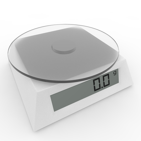weighing machine: Included electronic kitchen scales on the isolated background