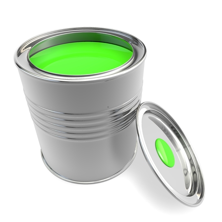 Open a bank with green paint. Isolated white background Stock Photo