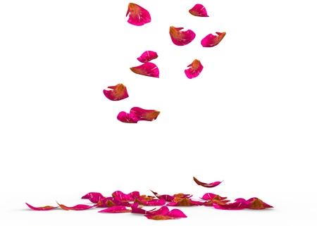 바닥에 가을 얼룩덜룩 한 장미 꽃잎. 격리 된 배경입니다. 3D 렌더링