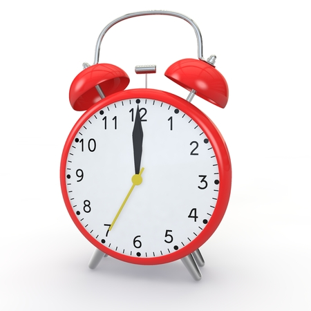 show time: Red alarm clock on isolated background show time 12:00