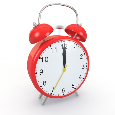 wake up call: Red alarm clock on isolated background show time 12:00