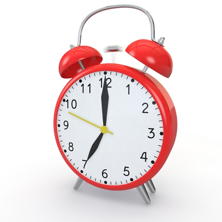 show time: Red alarm clock on isolated background show time 7:00