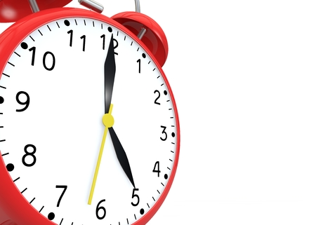 show time: Red alarm clock on isolated background show time 17:00