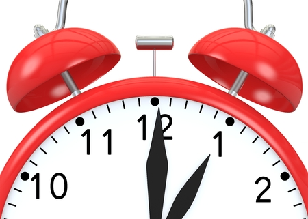 show time: Red alarm clock on isolated background show time 13:00