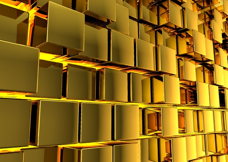 Abstract background. Golden cubes on a yellow background. 3d render