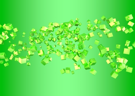 Abstract background. Green cubes on a green background. 3d render