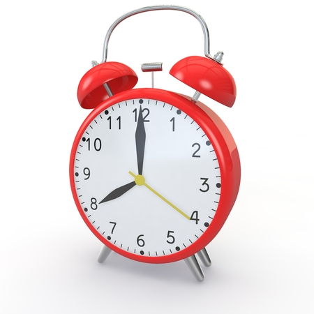 show time: Red alarm clock on isolated background show time 8:00