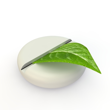 medical preparation: The illustration on the theme of alternative medicine. Pills and a green leaf Stock Photo