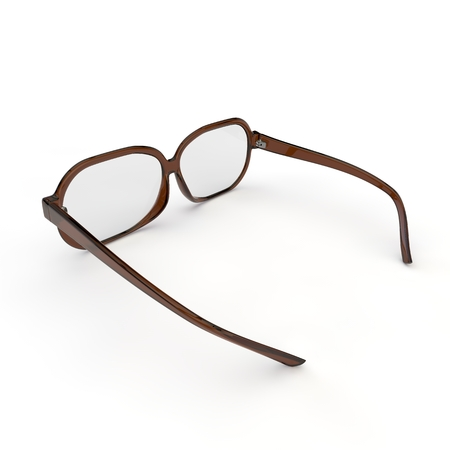 rim: Glasses with brown plastic rim on a white background isolated