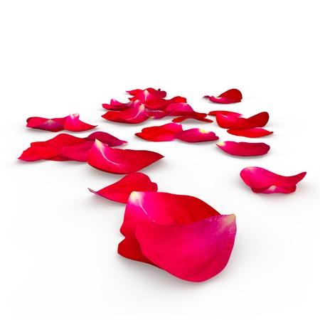 床の上に横たわる赤いバラの花びら。分離の背景。3 D のレンダリング