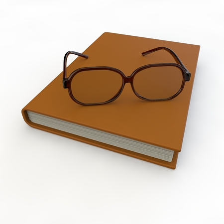 rimmed: With brown-rimmed glasses lie on notebook on an isolated background