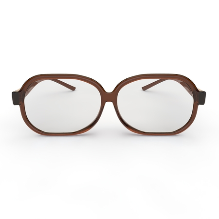 glass house: Glasses with brown plastic rim on a white background isolated
