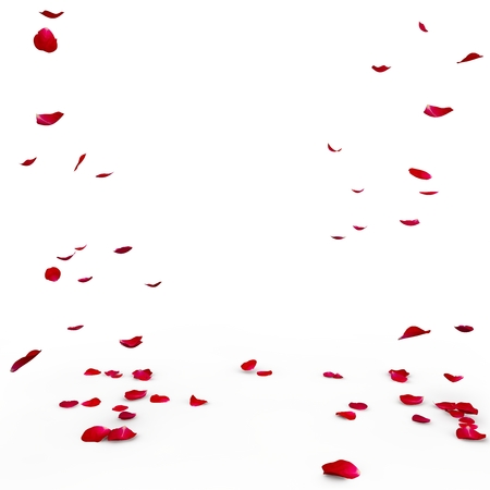 Red rose petals are flying to the floor. Isolated background. 3D Render Stock Photo