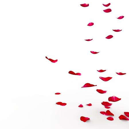 Rode rozenblaadjes vliegt naar de vloer. Geïsoleerde achtergrond. 3D Render Stockfoto