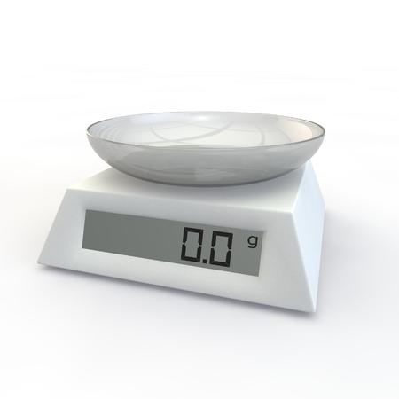 Keuken Schaal met een glazen beker op de geïsoleerde achtergrond