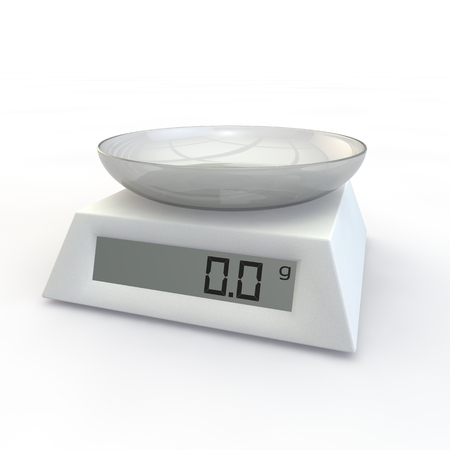 Kitchen Scale with a glass cup on the isolated background