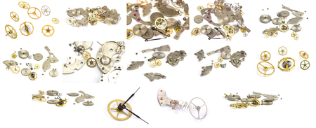 escapement: Collection. Clockwork details on the white isolated background Stock Photo