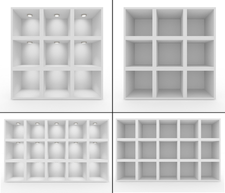 regiment: Collection. Empty white shelves with lighting. Isolated background