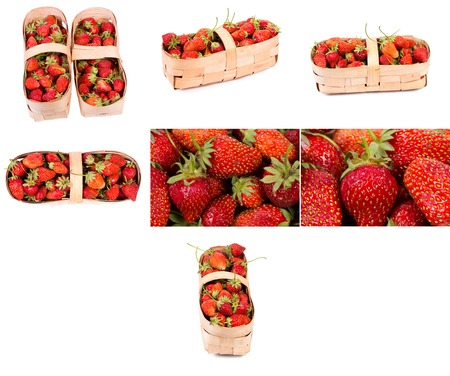 Collection. Strawberries in a basket isolated on a white background Stock Photo