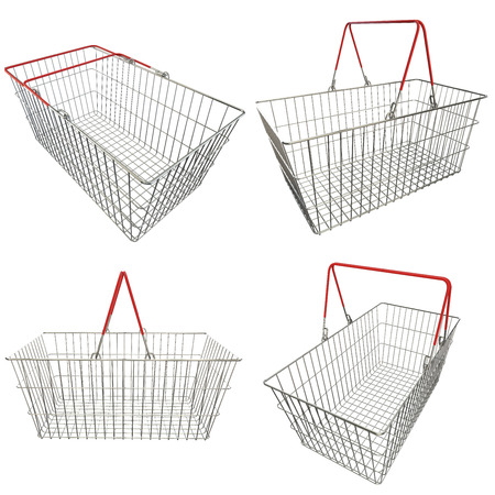 empty basket: Collection. Empty basket with red rubberized handles on an isolated background Stock Photo