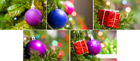 Collection. Christmas background - a toy on the Christmas tree on the background of garlands