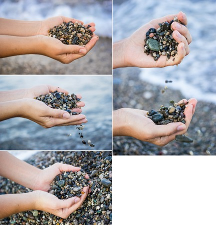 Collection. The girl on the beach holding a sea stones