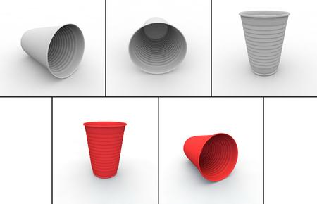 fiambres: Colección de vasos de plástico para bebidas frías y calientes de rojo y blanco