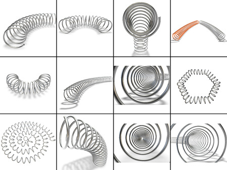metal spring: Collection. Metal spring on a white background