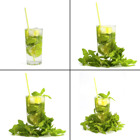 Collection. Alcoholic drink of Mojito and mint on a white background Stock Photo