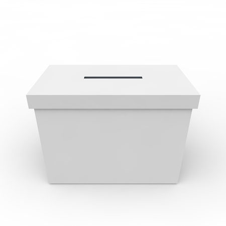 urn: White empty box to vote on an isolated background