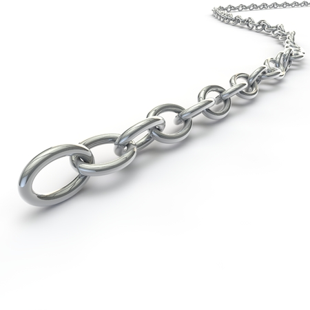 Metal silver chain lying on the floor. Isolated white background