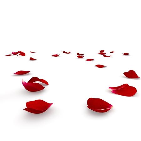 빨간 바닥에 흩어져 장미 꽃잎. 3D 렌더링
